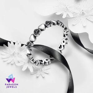 Heart Ring 925 Sterling Silver w/Black Gem Stones